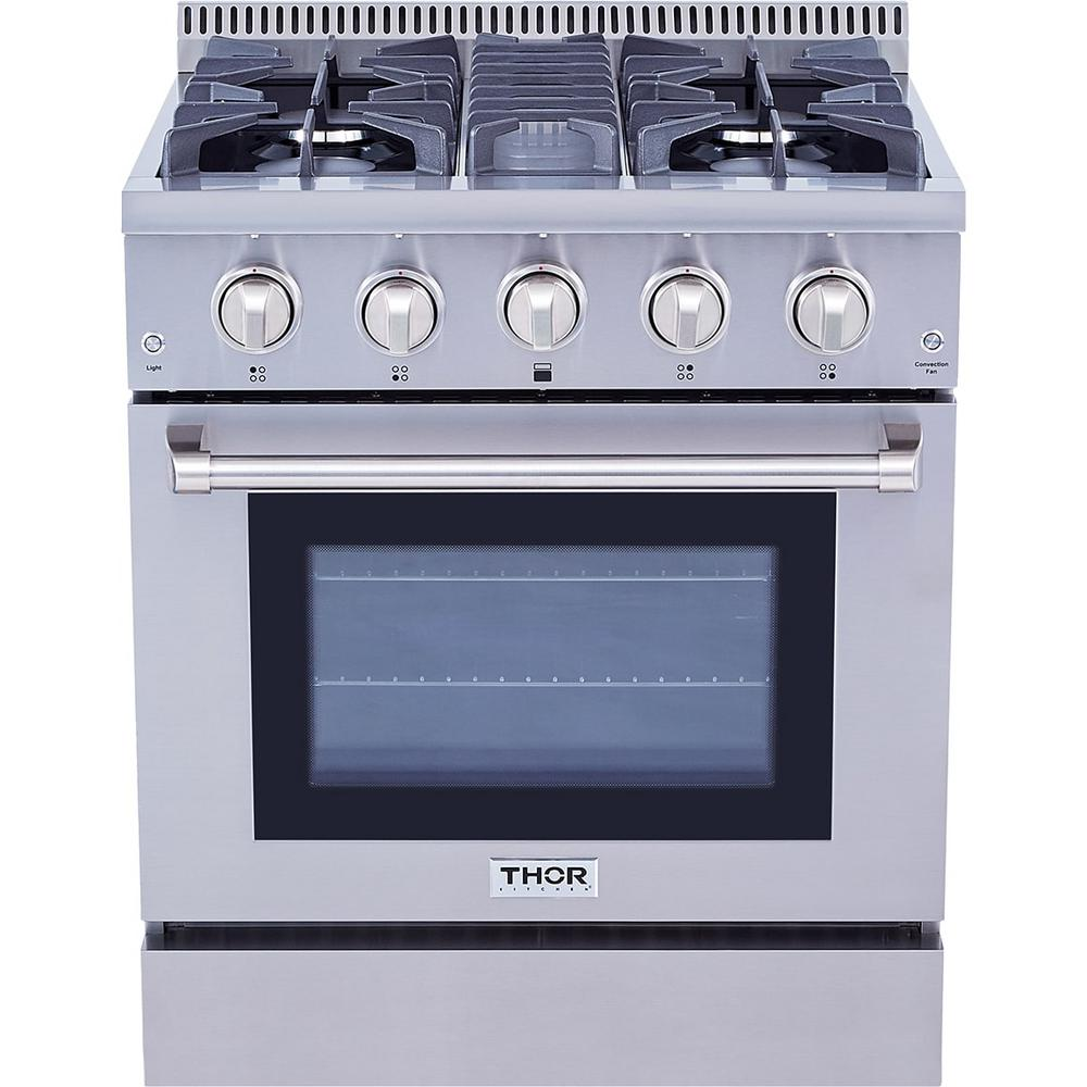 4 Burners ft Convection Fan Stainless Steel Oven Thorkitchen HRD3088U 30 Freestanding Professional Style Dual Fuel Range with 4.2 cu