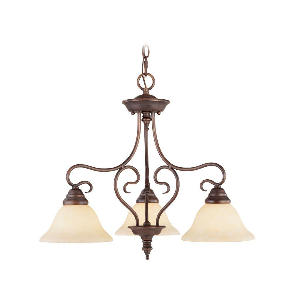 Livex Lighting 3-Light Imperial Bronze Chandelier with Vintage Scavo Glass