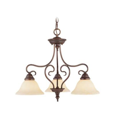 3-Light Imperial Bronze Chandelier with Vintage Scavo Glass