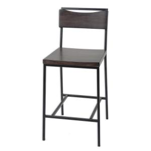 Fashion Bed Group 30 inch Columbus Metal Bar Stool with Black Cherry Wooden Seat and Matte Black Frame Finish by Fashion Bed Group