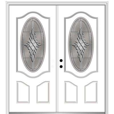 72 in. x 80 in. Grace Right-Hand Inswing Oval-Lite Decorative Primed Fiberglass Prehung Front Door on 4-9/16 in. Frame
