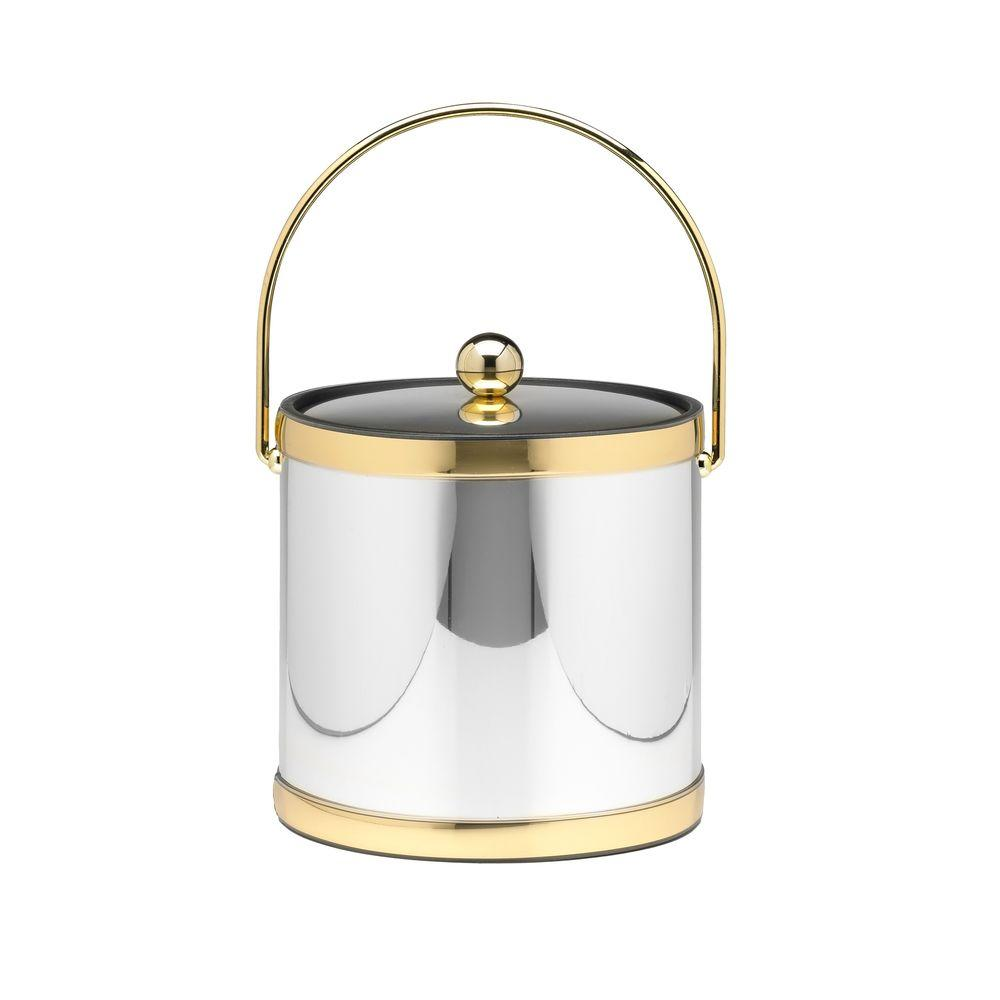 Mylar Polished Chrome and Brass 3 Qt. Ice Bucket with Metal