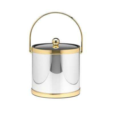 Mylar Polished Chrome and Brass 3 Qt. Ice Bucket with Metal Cover