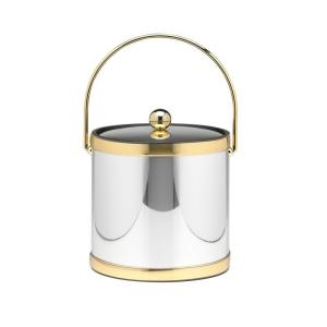 Kraftware Mylar Polished Chrome and Brass 3 Qt. Ice Bucket with Metal Cover by Kraftware