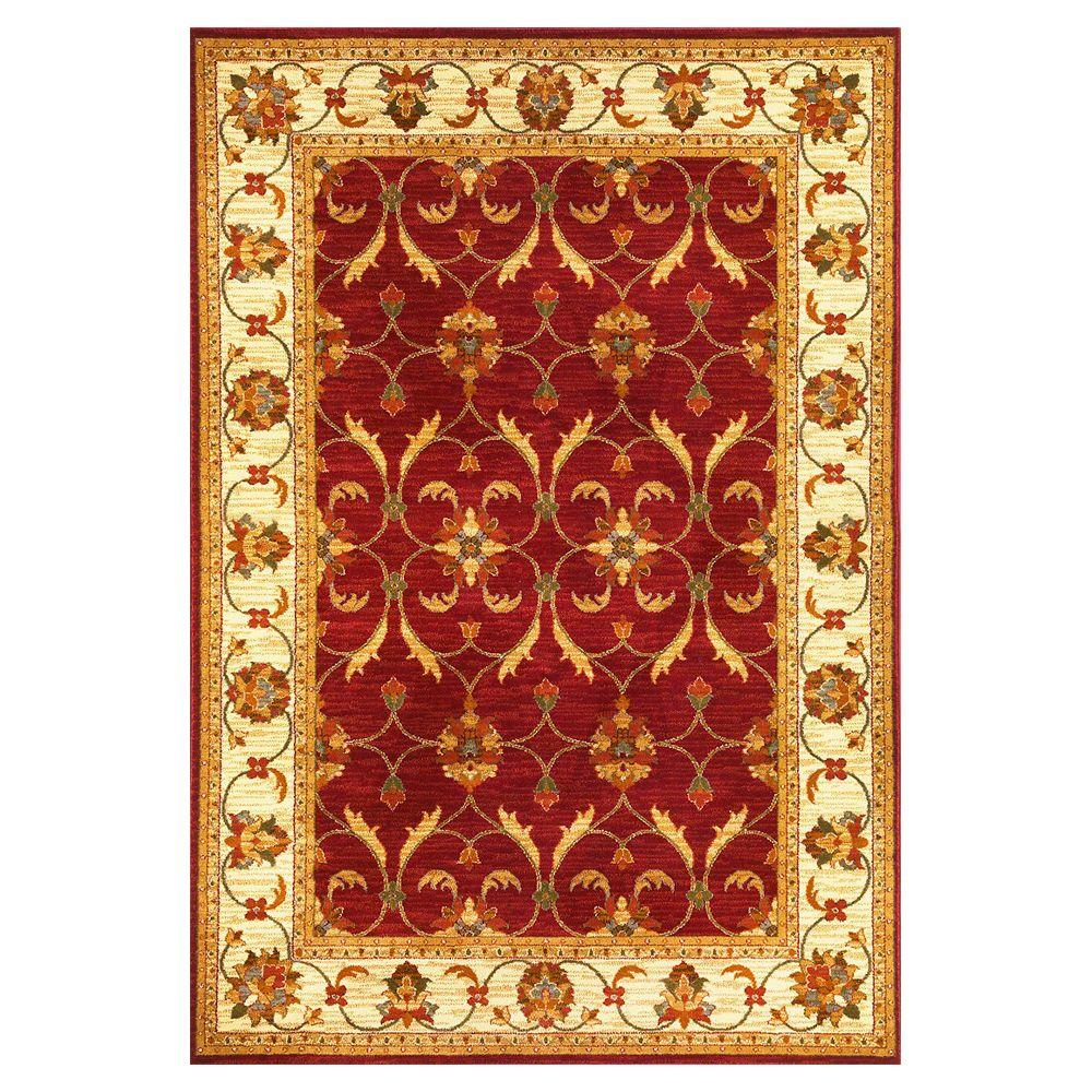 Kas Rugs State of Honor Red/Ivory 4 ft. x 5 ft. Area Rug This Kas Rugs State of Honor Collection 4 ft. x 5 ft. Area Rug will be a great welcoming touch to your home. This rectangular rug features a stain-resistant construction and fade-resistant materials. It is designed with red elements, bringing a warm and welcoming touch to your decor. This rug has an oriental print for a crafted piece that never goes out of style. It has a 100% polypropylene design, making it a long-lasting option for any living space. Color: Red/Ivory.