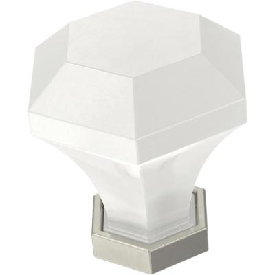 Classic Acrylic 1-3/8 in. (35 mm) White and Satin Nickel Cabinet Knob