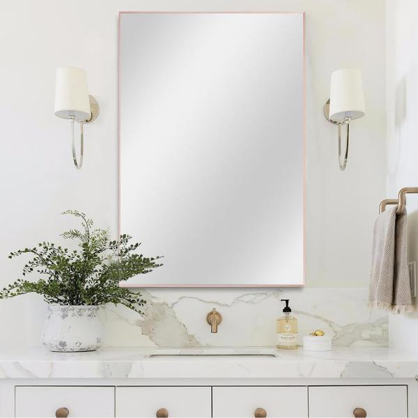 Medium Rectangle Rose Gold Hooks Contemporary Mirror (36 in. H x 24 in. W)