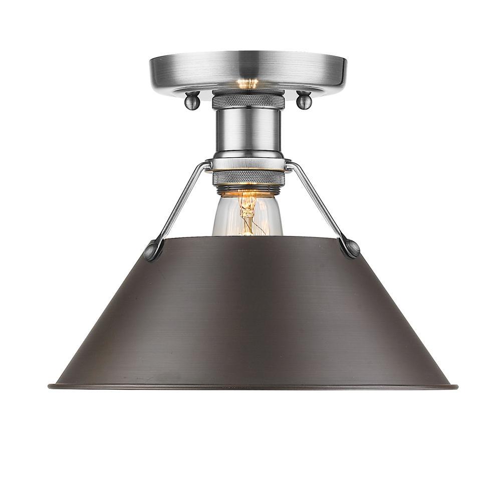 Orwell PW 1-Light Pewter Flushmount Light