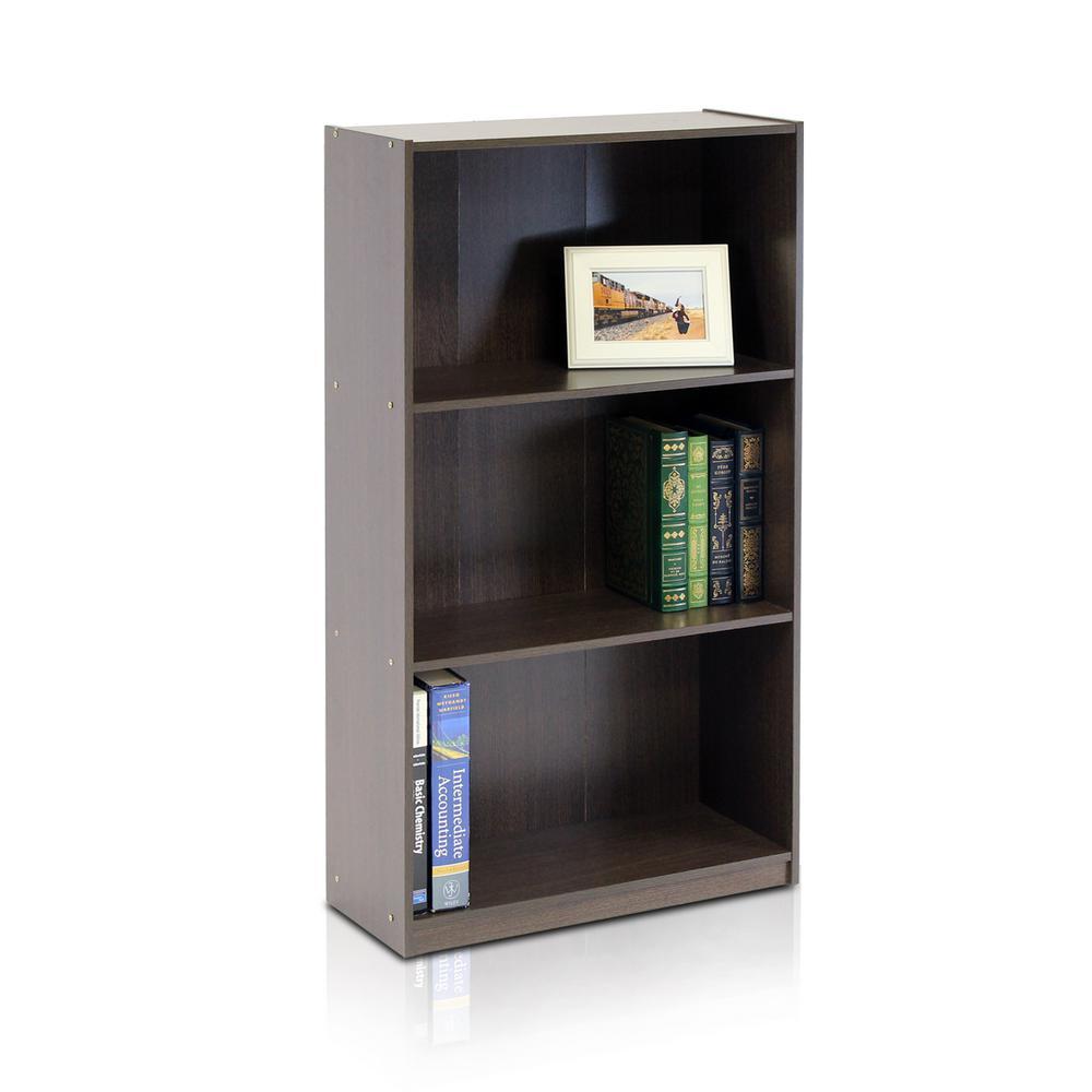 39.5 in. Dark Brown Wood 3-shelf Standard Bookcase with Storage