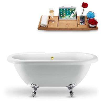 66.9 in. Acrylic Fiberglass Clawfoot Non-Whirlpool Bathtub in White