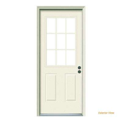 32 in. x 80 in. 9 Lite Primed Steel Prehung Left-Hand Inswing Front Door w/Brickmould