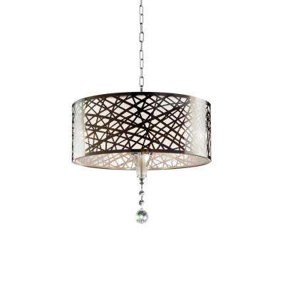 17.5 in. Array 5-Bulb with Shade Silver Crystal Chandelier