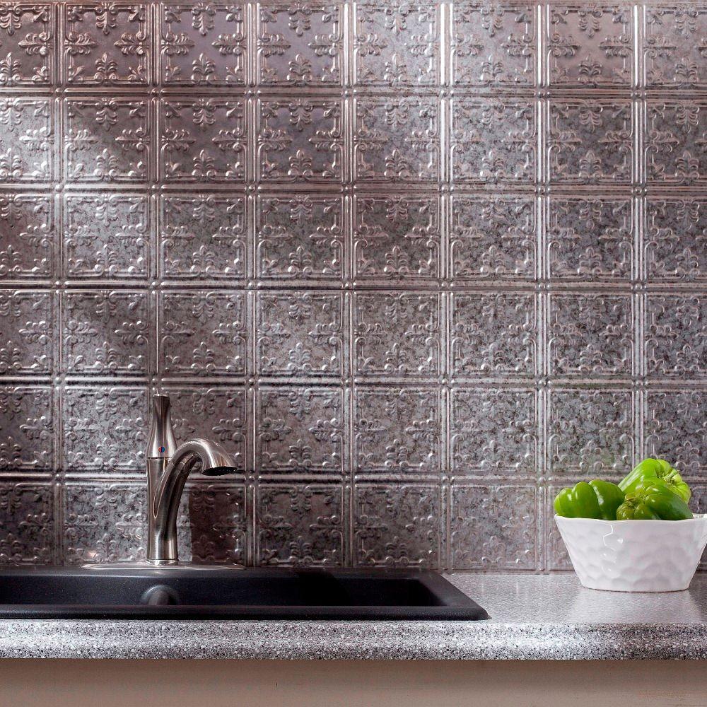 24 in. x 18 in. Galvanized Steel Traditional 10 PVC Decorative Backsplash Panel