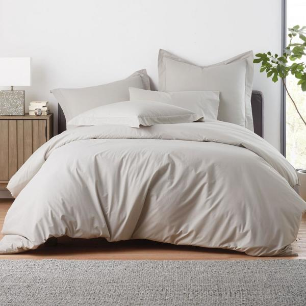 The Company Store Garment-Washed 3-Piece Cloud Gray Organic Cotton Percale King