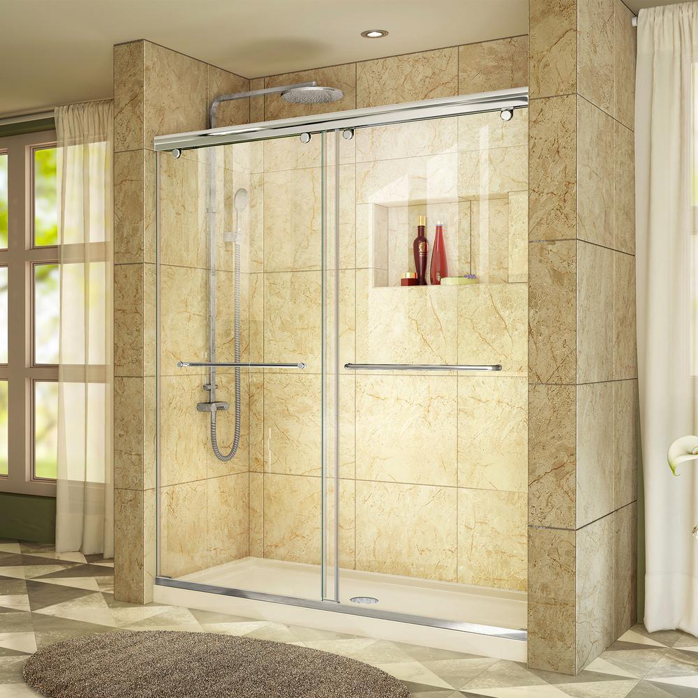 Charisma 32 in. x 60 in. x 78.75 in. Semi-Frameless Sliding Shower Door in Chrome with Shower Base Center Drain