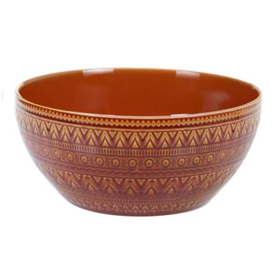 Multi-Colored 152 oz. Aztec Rust Deep Bowl