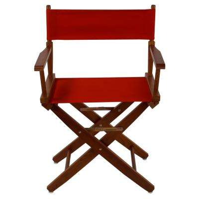 Extra-Wide 18 in. Mission Oak Frame/Red Canvas American Hardwood Directors Chair