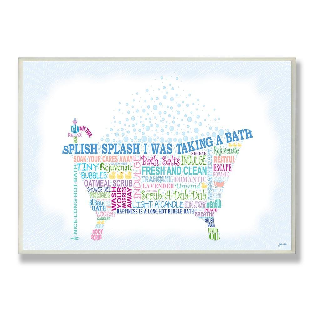 "12.5 in. x 18.5 in. ""Splish Splash Typography Bathroom Art"" by Janet White Printed Wood Wall Art"