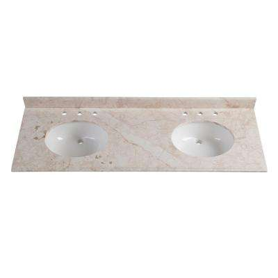 61 in. W x 22 in. D Stone Effects Double Vanity Top in Dune with White Basins