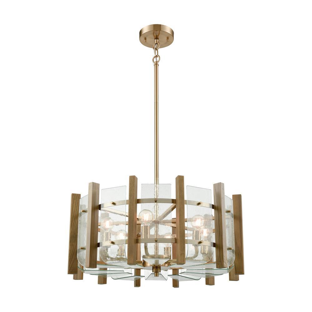 Current Obsession Lantern Chandeliers: Titan Lighting Vindalia 6-Light Satin Brass With Wood