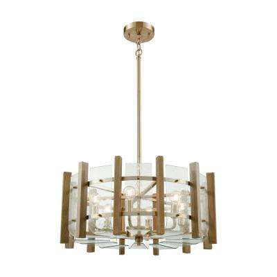 Vindalia 6 Light Satin Brass With Wood Slats Chandelier Clear Curved Glass Shades