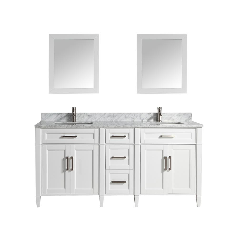 Vanity Art Savona 72 in. W x 22 in. D x 36 in. H Bath Vanity in White with Vanity Top in White with White Basin and Mirror