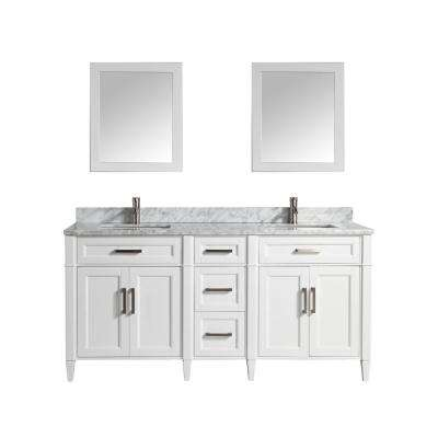 Savona 72 in. W x 22 in. D x 36 in. H Bath Vanity in White with Vanity Top in White with White Basin and Mirror