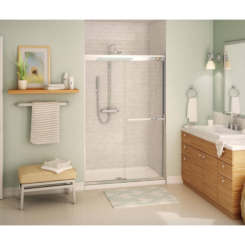 Aura SC 48 in. x 71 in. Semi-Frameless Sliding Shower Door in Chrome