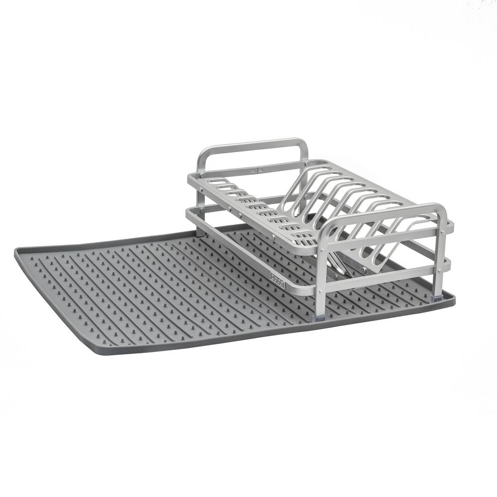 Compact Dish Rack In Brushed Aluminum With Drysmart Silicone Mat Dark Grey