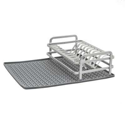 13.22 in. x 8.62 in. Compact Dish Rack in Brushed Aluminum with Drysmart Silicone Mat in Dark Grey