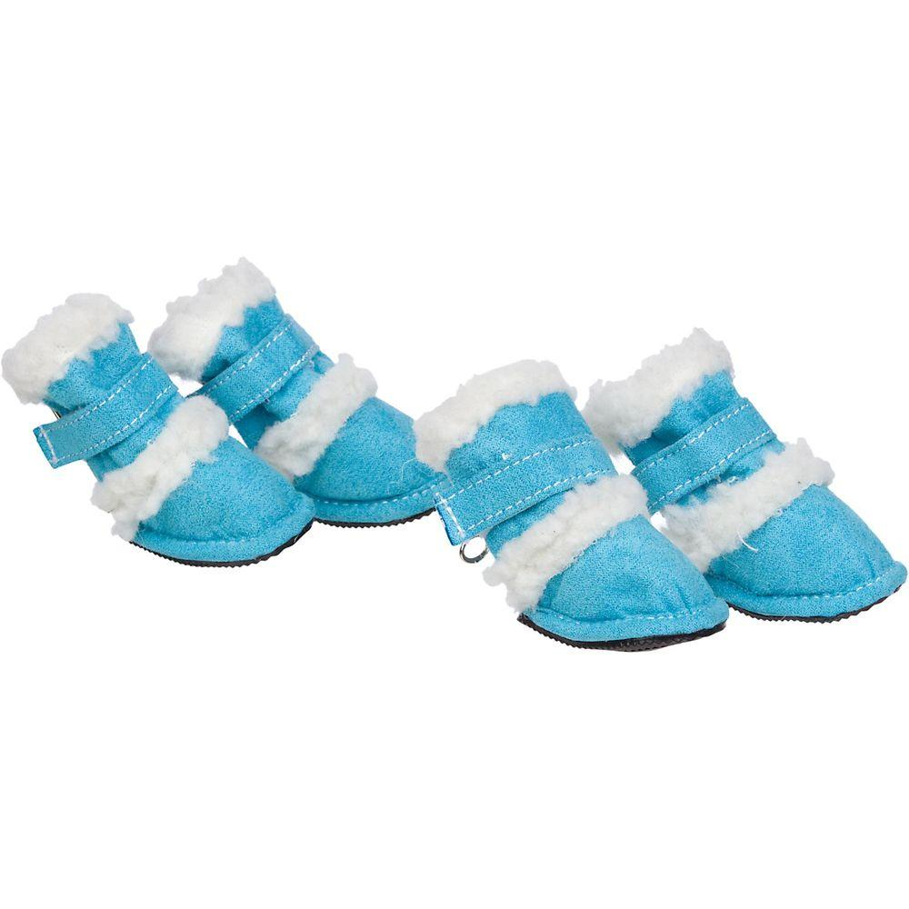 Petlife Shearling Duggz Shoes - Set of 4 Blue - F4BLXS