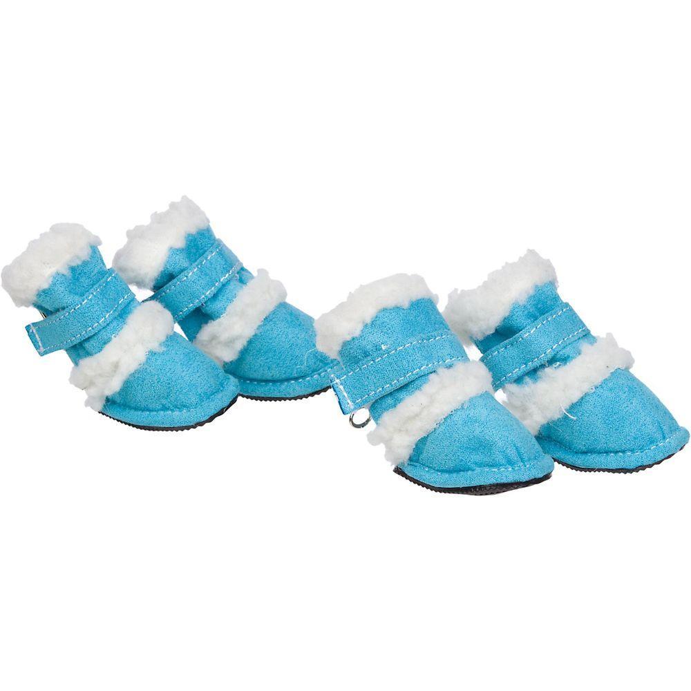 Petlife X-Small Blue Shearling Duggz Shoes (Set of 4)
