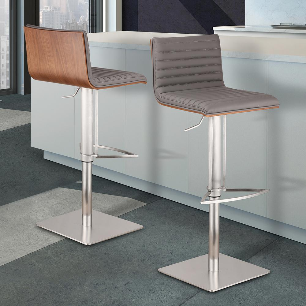 Merveilleux Armen Living Cafe 31 41 In. Gray Faux Leather With Brushed Stainless Steel  Finish