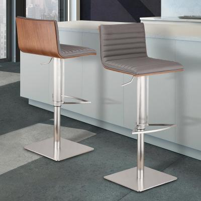 Cafe 31-41 in. Gray Faux Leather with Brushed Stainless Steel Finish and Walnut Veneer Back Adjustable Swivel Barstool