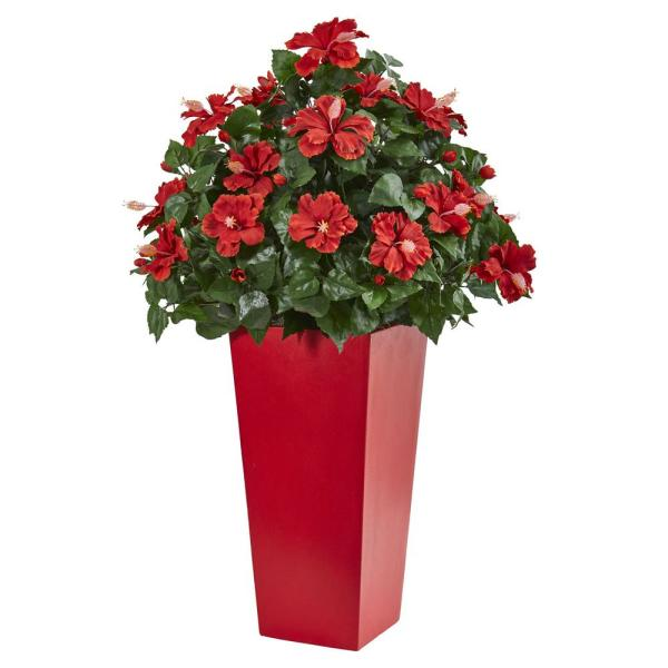 Nearly Natural 3 ft. Indoor/Outdoor Hibiscus Artificial Plant in Red Planter