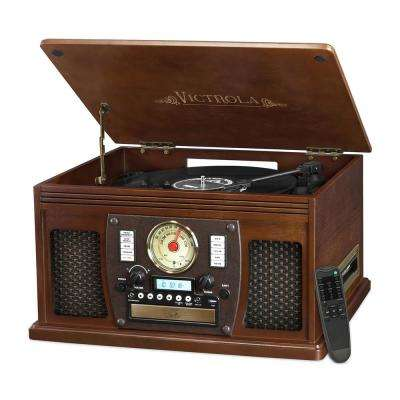 Wood 8-in-1 Nostalgic Bluetooth Record Player with USB Encoding and 3-Speed Turntable in Espresso
