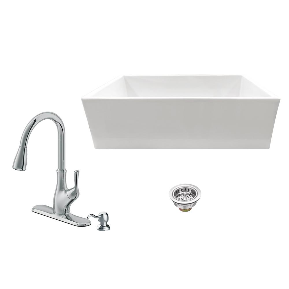 IPT Sink Company All-in-One Apron Front Fireclay 33 in. Single Bowl Kitchen Sink with Faucet and Strainer in White