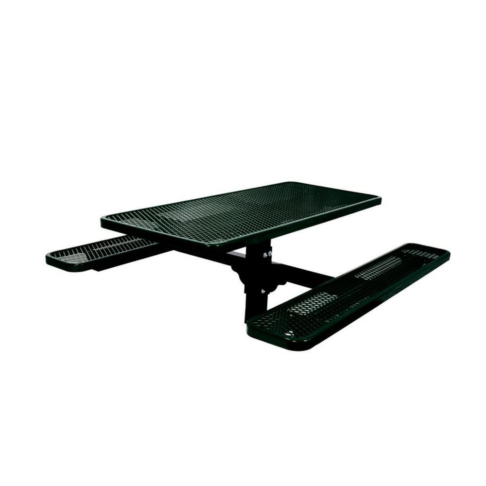 6 ft. Commercial Park Rectangular Inground Mount Single Pedestal Table