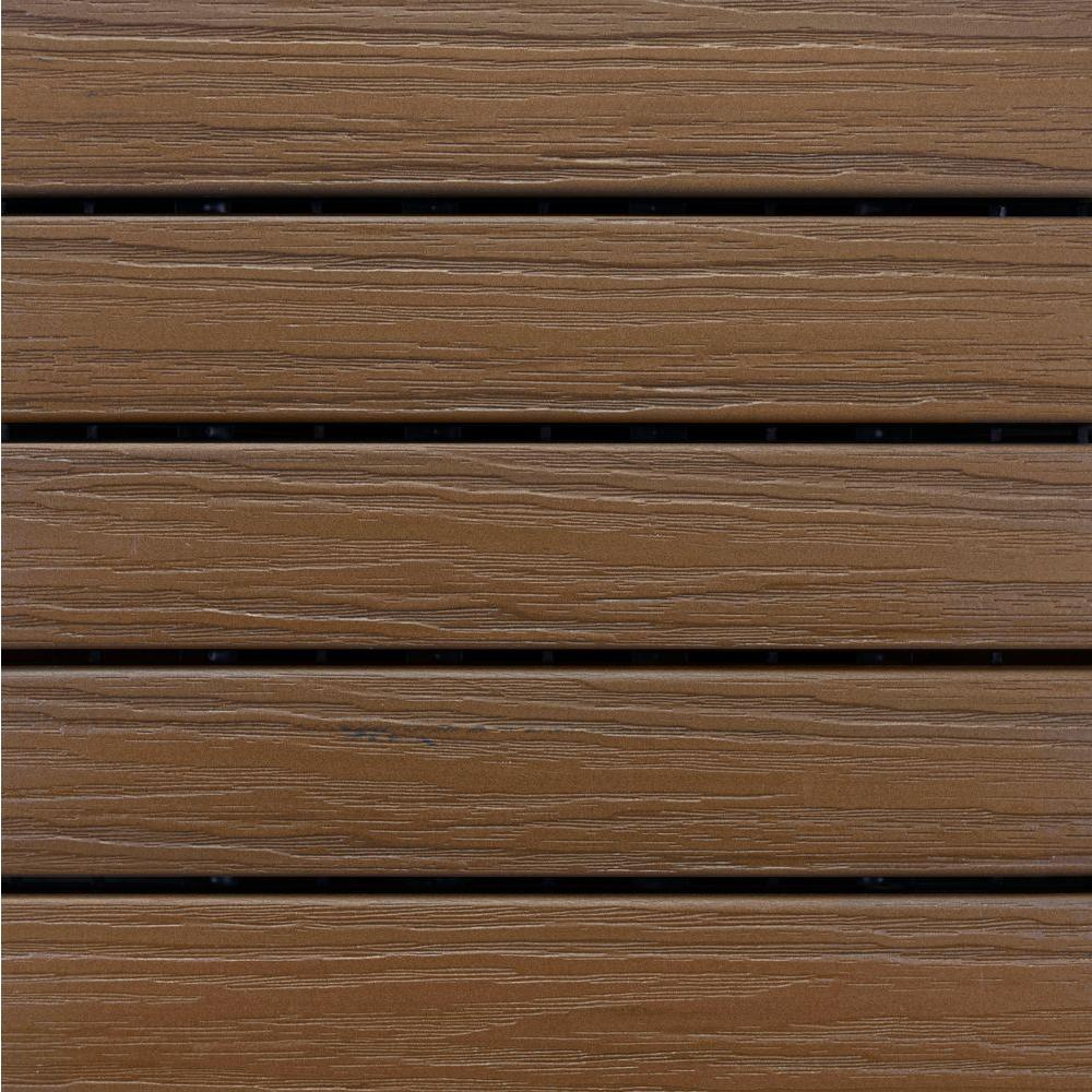 Interlocking Deck Tiles Home Depot Aura Elite 1 Ftx 1 Ftpremium Polymer Deck Tile In Walnut 10