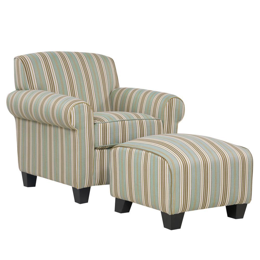 Handy Living Winnetka Arm Chair And Ottoman In Summer Blue Stripe