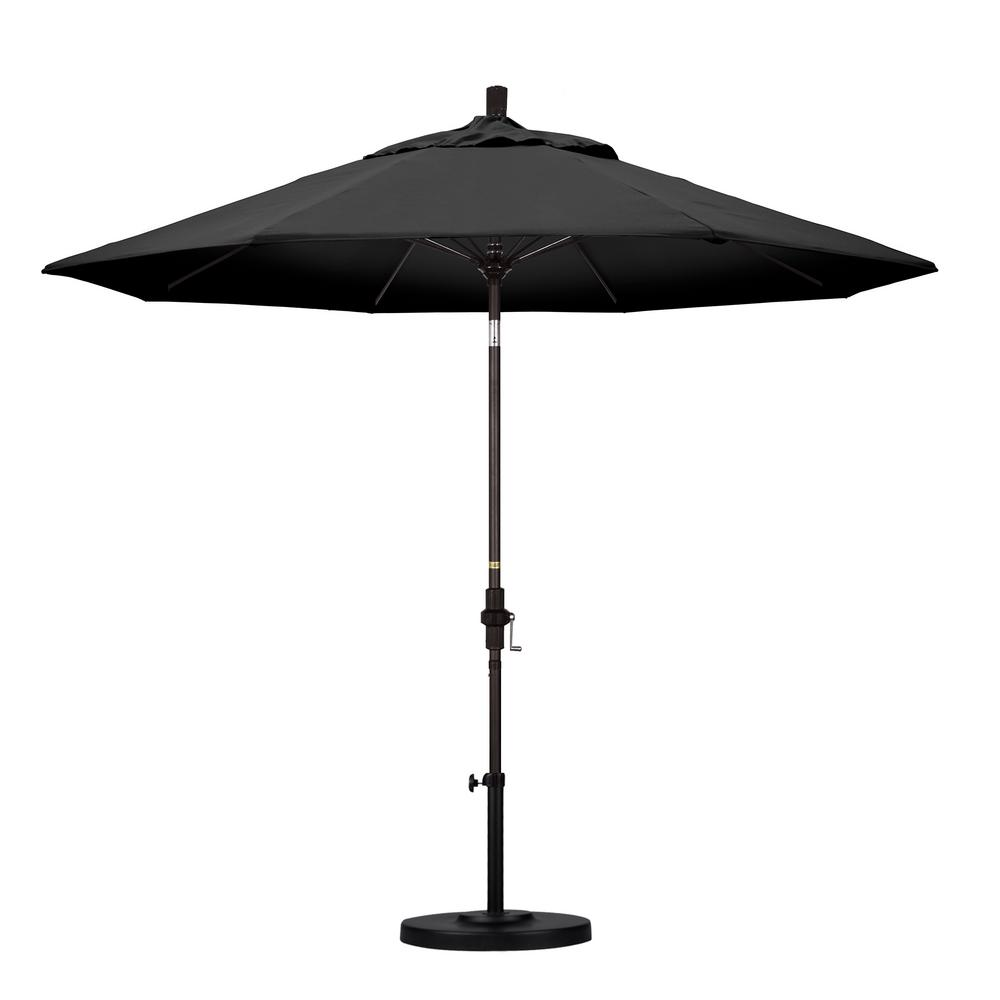 California Umbrella 9 ft. Fiberglass Collar Tilt Patio Umbrella in Black Olefin