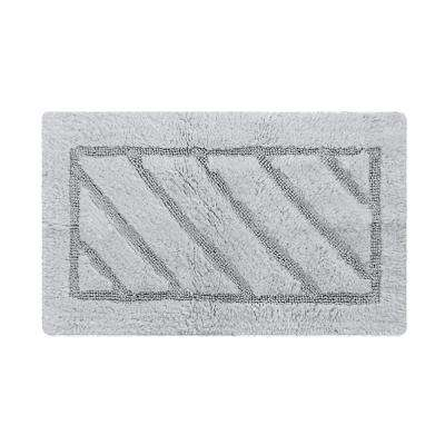 Ruby Collection 20 in. x 31 in. Heavyweight Hand Tufted Cotton Bath Rug Mat in Gray