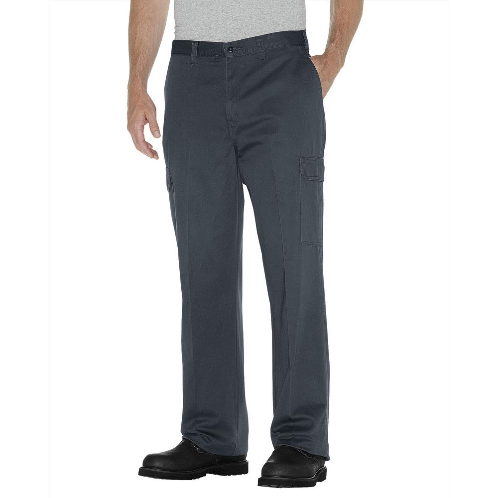 Dickies Men's 38 in. x 34 in. Charcoal Loose Fit Straight Leg Cargo Pant, Gray