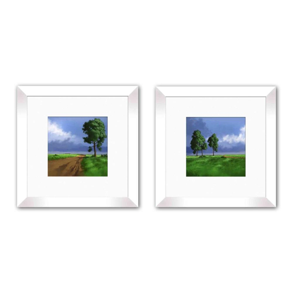 """PTM Images 12 in. x 12 in. """"Blue Sky"""" White Matted Framed Wall Art (Set of 2)"""