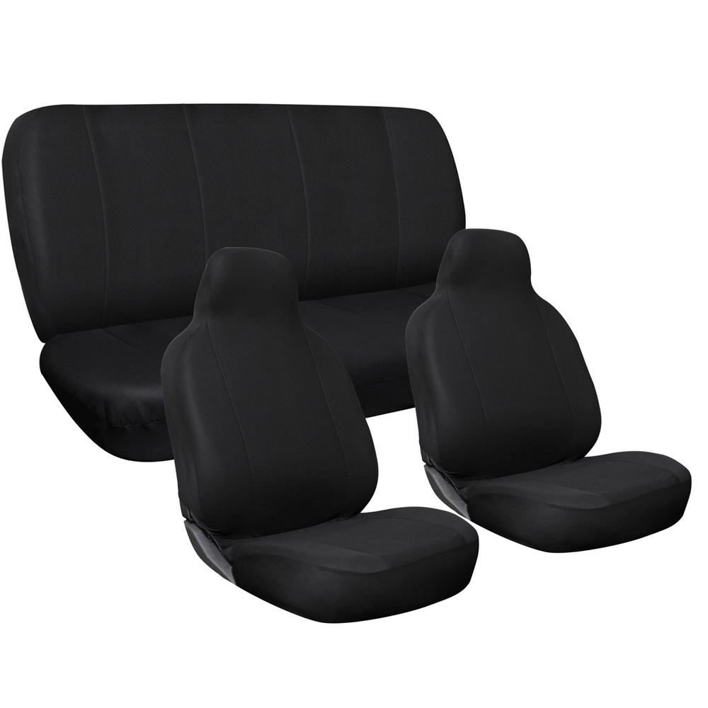 OxGord Polyester Seat Covers Set 24 in. L x 21 in. W x 40 in. H 3-Piece Complete Car Seat Cover Set Solid Black