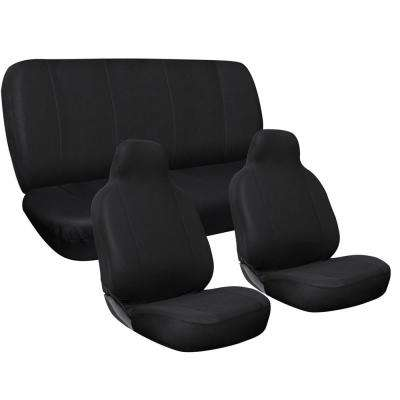 Polyester Seat Covers Set 24 in. L x 21 in. W x 40 in. H 3-Piece Complete Car Seat Cover Set Solid Black