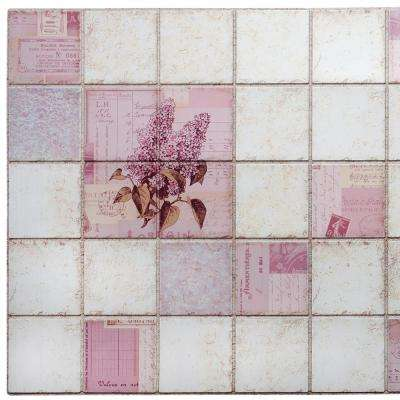 3D Falkirk Retro 10/1000 in. x 38 in. x 19 in. Pink Faux Lilacs in Squares PVC Wall Panel