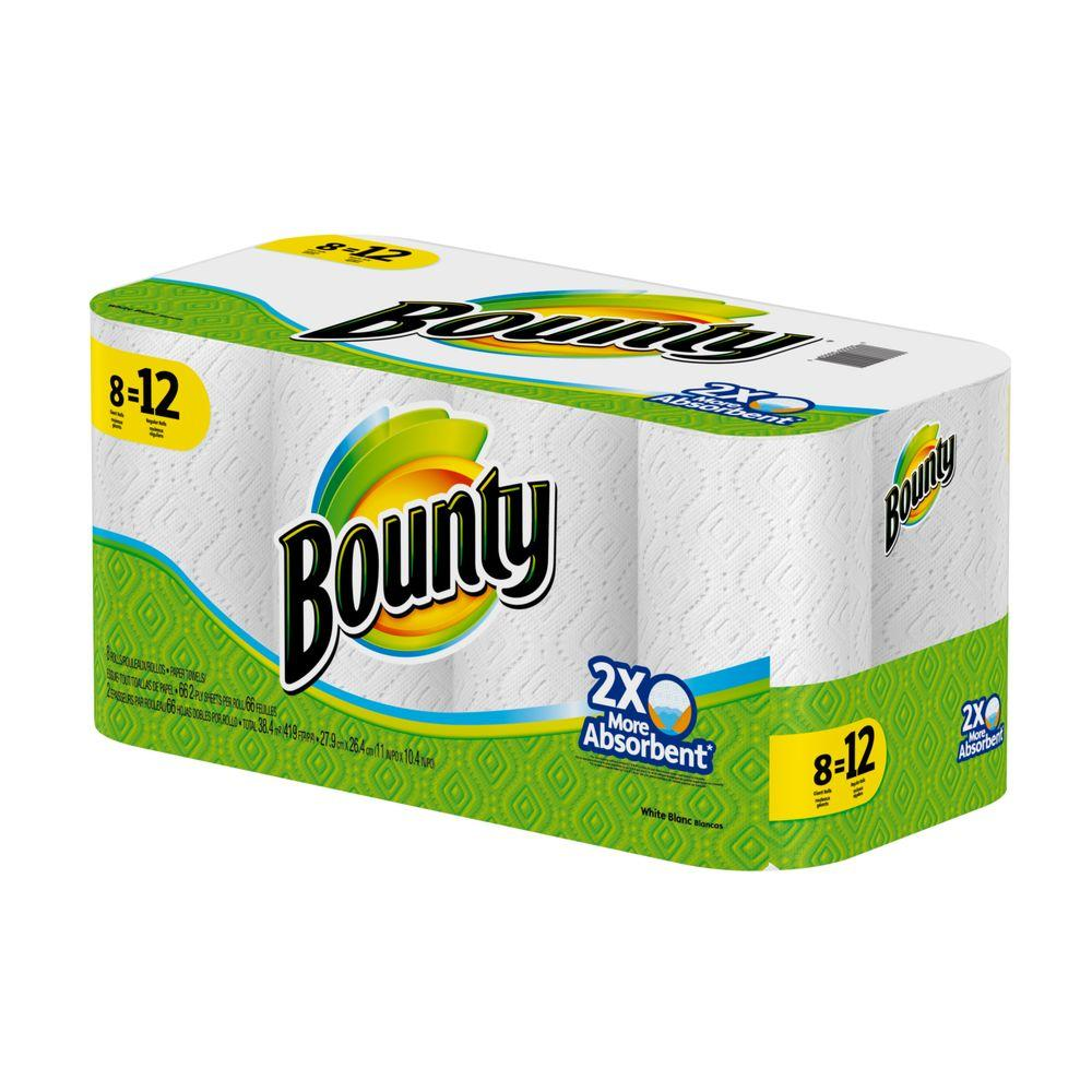 Bounty Full Sheet Paper Towels Giant Rolls: Bounty White Paper Towel Roll (8 Giant Rolls)-003700088213