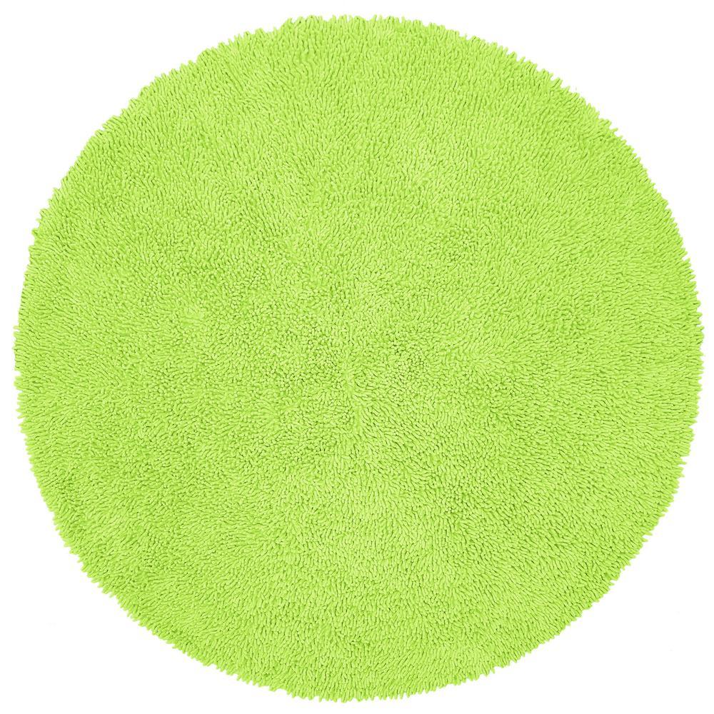 Green Shag Chenille Twist  2 ft. x 2 ft. Round Accent Rug