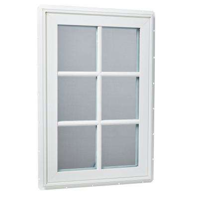 24 in. x 36 in. Right-Hand Vinyl Casement Window with Grids and Screen in White
